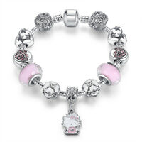 Hello Kitty Bracelet Pink Crystal Beads Charm bracelets High Quality -FREE SHIP