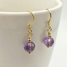 Royal Natural Amethyst 22K Gold Over Solid Sterling Earrings 310453C