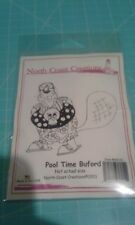 North Coast Creations cling rubber stamp Pool Time Buford beaver summer