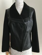 NWT Classiques Enter Black 100% Leather & 100% Wool Jacket SZ XL $398