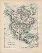 1902 mapa ~ América del Norte Estados Unidos Canadá México West Indies América Central