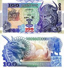 NORSELAND 100 Kronor Fun-Fantasy Note 2016 Issue Norwegian Viking Ship (Norway)