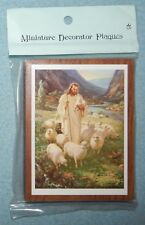 "Vintage Jesus, The Good Shepherd Picture on wood plaque {3.25"" x 4.25""} New"