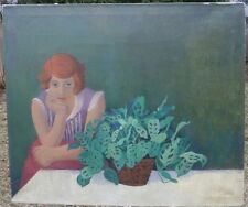 "Girl with Prayer Plant 30"" x 35"" Oil Painting-1950s-August Mosca"