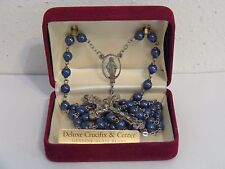"22"" Metallic blue glass bead deluxe crucifix rosary Mary Jesus Chapel Italy New"