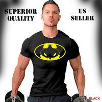 Batman On Swole Logo T-Shirt Workout Sport Gym Bodybuilding Weight Training