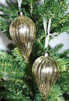 4 Glass Christmas Tree Baubles, Teardrop, Luxury Xmas Ornaments/Decoration,11cm
