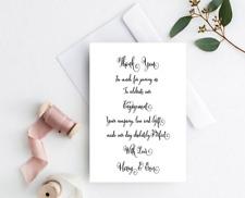 10 White Wedding or Engagement THANK YOU Cards & envelopes Personalised