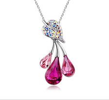 NEW Womens Flower Hot Pink Crystal Rhinestone Silver Chain Pendant Necklace ---