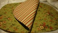 "Set (2) Vintage Oval Floral /Striped FARMHOUSE PLACEMATS Reversible 18""x12""  52"