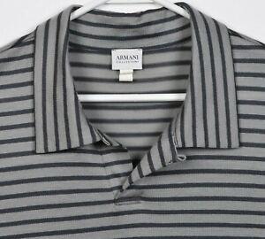 Armani Collezioni Men's 2XL 100% Wool Gray Black Striped Designer Polo Shirt