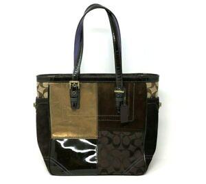 Coach Suede Leather Purse Multi-Color Patchwork Tote Handbag Shoulder F10432