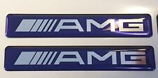 2x MERCEDES AMG Logo 3D Domed Stickers. Size 120x20mm. Blue. Chrome vinyl base.