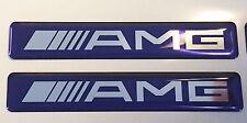 2x MERCEDES AMG Logo 3D Domed Stickers. Size 120x20mm. Blue. Chrome vinyl base.