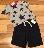 Baby Gap Boys 12-18 Months Outfit. Gray / Red Star Shirt & Navy Blue Shorts. Nwt