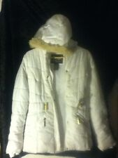 Be Hip By Me Jane Puff White Jacket Ski Coat Fur Hood Buckle Zip Snap Front LRG