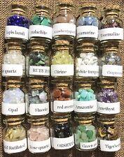 20 Natural Stone Gem Quartz Crystal Tumbled Bottle Wishing Wicca Reiki Healing