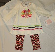 NEW Baby Thanksgiving Outfit Turkey Long Sleeve Pants Bonnie Baby 18M Toddler
