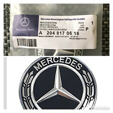 Mercedes-Benz Black Wreath Flat Bonnet Badge Emblem A2228170415 NEW 57mm