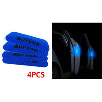 4Pcs Super Blue Reflective Safety Warning Auto Car Door Open Sticker Tapes Decal