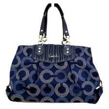 COACH Ashley Gathered Dotted OP ART Carryall Bag NAVY Sateen SILVER $398 F20056
