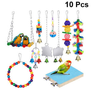 10pcs Parrot Toy Funny Climbing Toy Chewing Toy Cage Accessories Stand for Bird