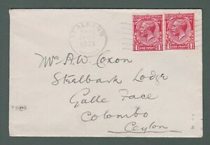 1921 GB - GV cover franked with 1d x2 from St Albans to Colombo, Ceylon (P762)