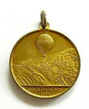 h749 France NICE 1884 ASCENSION IN A BALOON PANORAMA DE NICE medal