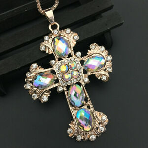 Women's Red/Blue/White Cross Crystal Pendant Betsey Johnson Long Necklace