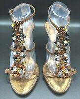J Renee Heels Sandal Open Foot Ankle Strap Gems Beads Brown Black Gold Sz 10