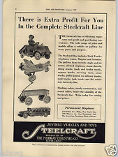1929 PAPER AD Steelcraft Pull Toy Pedal Car Army Scout Plane Empire Steam Engine