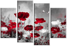 """RED GREY CANVAS ART CHINESE FLORAL FLOWER SPLIT MULTI 4 PANEL PICTURE 40""""x 27"""""""