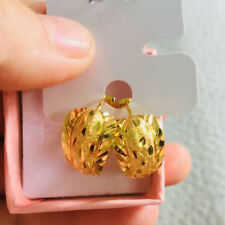 Hoop Earrings Vintage Clover Carve Womens 24k Yellow Gold Filled Wedding Jewelry