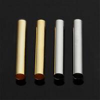 100 Stk Gold/Silber Messing Perlen Rohr Röhrchen Schmuck Basteln DIY Loch 4mm