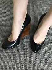 Aldo Close Toe Black Shoes Heels Wedges With Studs