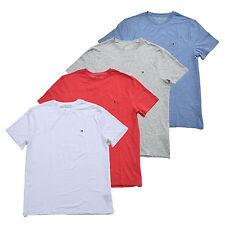 Camisa Masculina Tommy Hilfiger gola careca camiseta de algodão, Stretch T-shirt Novo com etiquetas Novo Logotipo De Bandeira