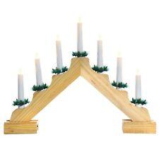 Christmas Decoration - Battery Operated LED 7 Light Candlebridge - 41cm - Wooden