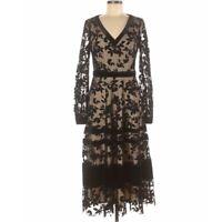 Taylor Dresses Long Sleeve V-Neck Flocked Midi Dress Black/Nude Size 4 NEW🔥