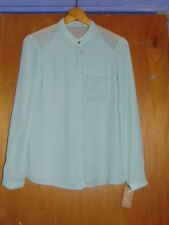 "Rachel Roy L/Sleeve Sheer Chiffon Blouse S UK 8 Ch 33-34"" Pale Sage BNWT"