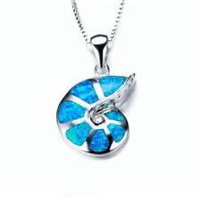 NEW Fashion 925 Silver ammonite Blue Fire Opal Charm Pendant Necklace Chain