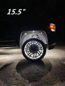 For Truck Super Bright Solid Color Wheel Rings Lights Strobe Pure Warm White Rim