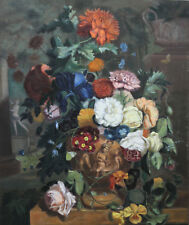 EVELYN JONES BRITISH OIL PAINTING FLORAL BOUQUET 1940 ROSES TULIPS STILL LIFE