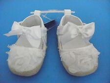 Rising Star Infant Baby Girl WHITE Dressy Crib SHOES w/Satin Bows ~Size 1~