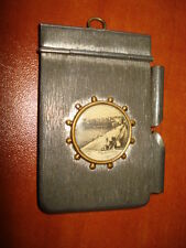 ANTIQUE 1940's WHITE METAL NOTE PAD HOLDER  NOTEPAD USED