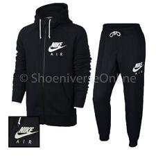 Men's Nike Air Sportswear AW77 Slim Fit Full Zip Tracksuit Set Black Fleece