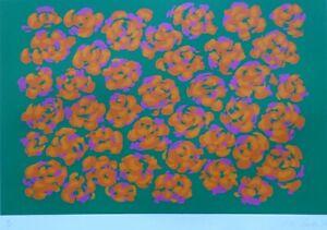 "Nadine Prado "" Orange Flowers on Green "" 1979 Serigraph HAND SIGNED"