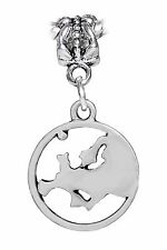 Europe Continent Silhouette Map Globe Dangle Charm for European Bead Bracelets