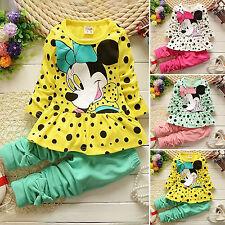 Kinder Mädchen Gepunktet Minnie Mouse Jumper Kleid Hemd Hose Kombinationen Sets