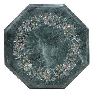 "12"" Green Marble top Table Semi Precious Stones floral art Work"