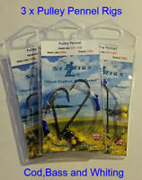 Sea Fishing Rigs, 2 Hook Pulley Pennel Clip Down Rig  2/0 Cod & Bass x 3 Packs